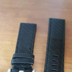 Peças de reposição de relógios: CORREA DE CUERO NEGRA MONTBLANC, CON CIERRE (HEBILLA) MEDIDA 22, MM, NUEVA SIN USO DE STOCK TIENDA. Lote 200854491