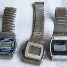 Recambios de relojes: LOTE DE 3 RELOJES DIGITALES ANTIGUOS BULER OCCIDENT AUDEL R4. Lote 202752808