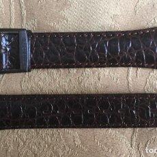 Recambios de relojes: CORREA VINTAGE SWATCH PIEL LABRADA MARRON. Lote 208248768