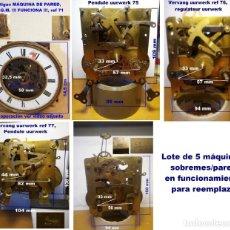 Recambios de relojes: LOTE DE 5 MÁQUINAS SOBREMES/PARED EN FUNCIONAMIENTO PARA REEMPLAZO. Lote 209316695