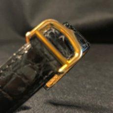 Recambios de relojes: HEBILLA DESPLEGABLE CARTIER DORADA CON CORREA DE CUERO DE COCODRILO NEGRO. Lote 210169271