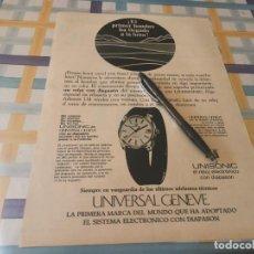 Recambios de relojes: RELOJ UNIVERSAL GENEVE UNISONIC ANUNCIO PUBLICIDAD REVISTA 1969 POSIBLE RECOGIDA EN MALLORCA. Lote 212918078