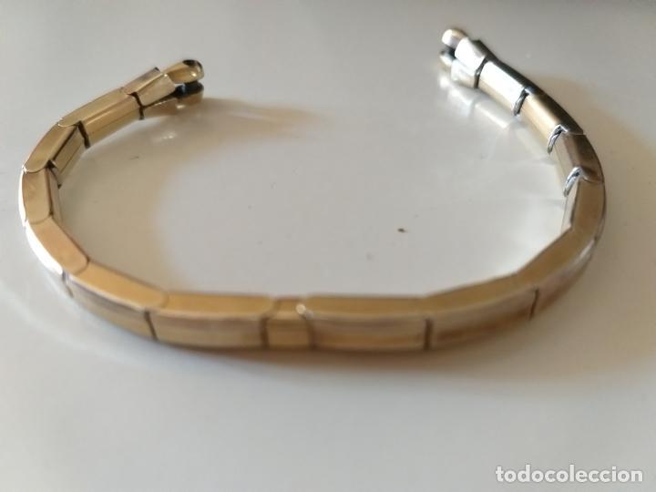 Recambios de relojes: Pulsera para reloj, elastica. Letras grabadas: telescope, Pat A, Double. Dorada - Foto 2 - 214674222