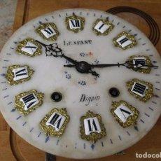 Recambios de relojes: ANTIGUA ESFERA DE ALABASTRO OJO BUEY MOREZ- NUMEROS PORCELANA-LOTE 306. Lote 218739251