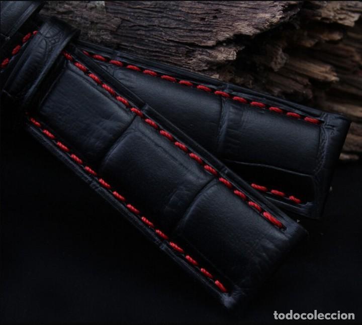 Recambios de relojes: Correa Reloj 20mm Piel Grano Cocodrilo Negra pespunte Rojo - COMPATIBLE TAG HEUER - - Foto 3 - 221513247