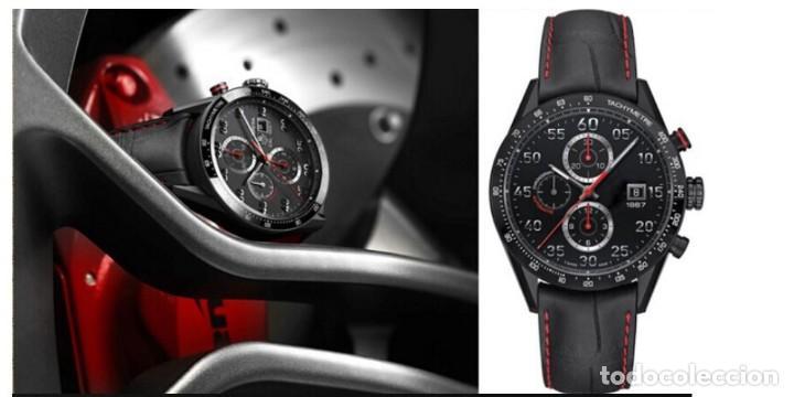 Recambios de relojes: Correa Reloj 20mm Piel Grano Cocodrilo Negra pespunte Rojo - COMPATIBLE TAG HEUER - - Foto 4 - 221513247