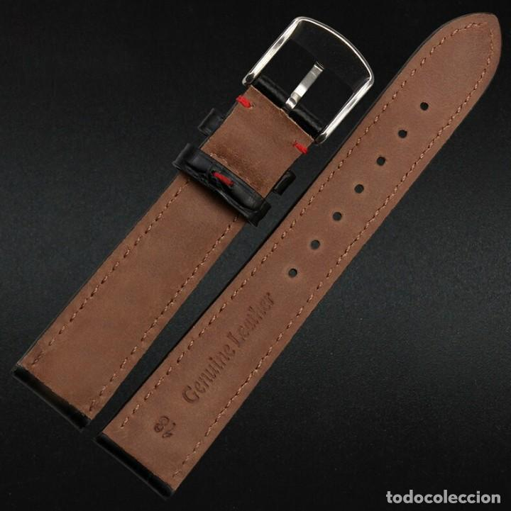 Recambios de relojes: Correa Reloj 20mm Piel Grano Cocodrilo Negra pespunte Rojo - COMPATIBLE TAG HEUER - - Foto 2 - 221513247