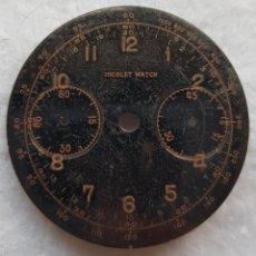 Recambios de relojes: ESFERA MILITAR NICOLET WATCH CRONOGRAFO MECANICO NEGRA 33MM MODELO DIVER. Lote 221950922
