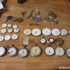 Recambios de relojes: GRAN LOTE DE 46 PIEZAS DE RELOJES DE BOLSILLO Y OTROS ANTIGUOS. Lote 230735210