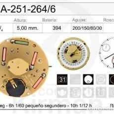 Recambios de relojes: MOVIMIENTO ETA-ESA -251-264/6 CALENDARIO A LAS 6. Lote 235305520