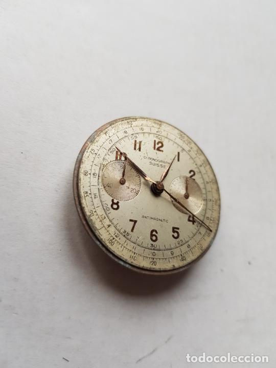 Recambios de relojes: CHRONOGRAPHE SUISSE CRONOGRAFO MECANICO CALIBRE + ESFERA 34MM + AGUJAS - Foto 4 - 235719090