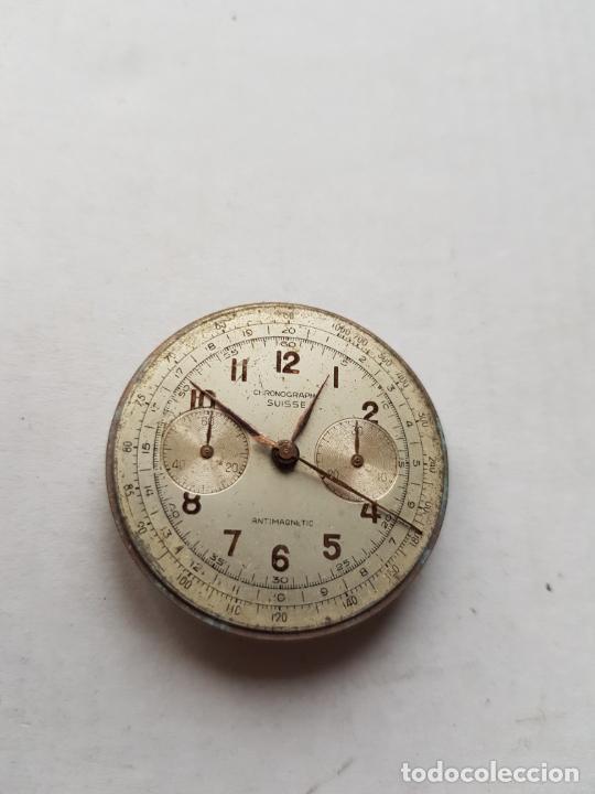 Recambios de relojes: CHRONOGRAPHE SUISSE CRONOGRAFO MECANICO CALIBRE + ESFERA 34MM + AGUJAS - Foto 5 - 235719090