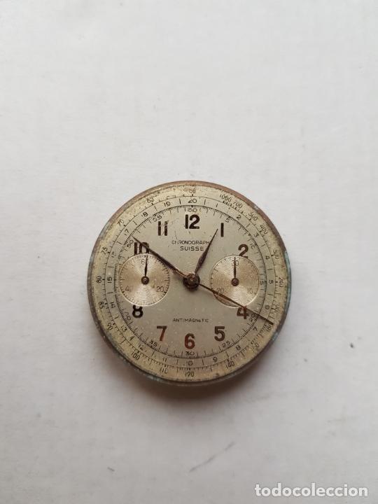 Recambios de relojes: CHRONOGRAPHE SUISSE CRONOGRAFO MECANICO CALIBRE + ESFERA 34MM + AGUJAS - Foto 6 - 235719090