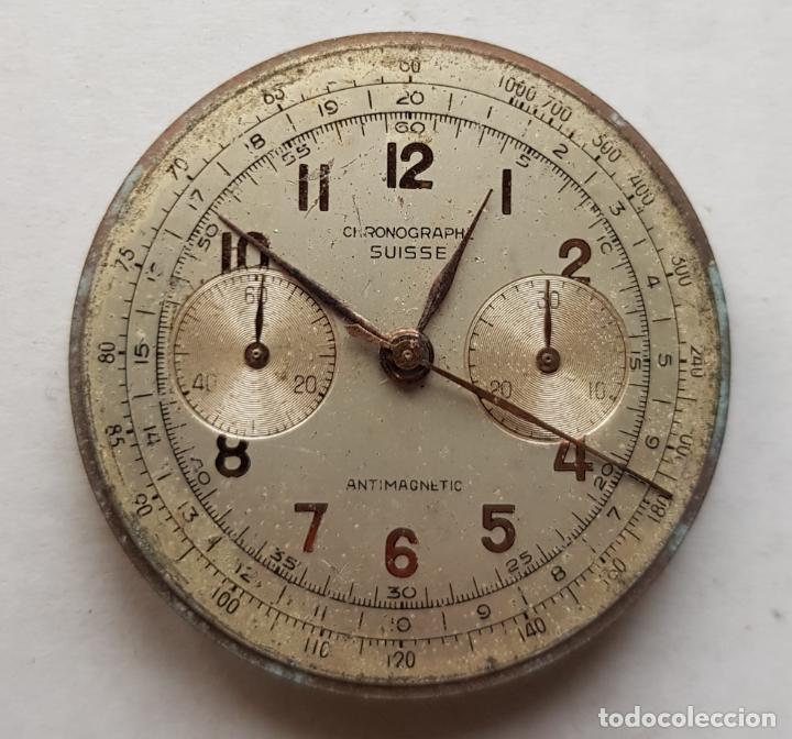 CHRONOGRAPHE SUISSE CRONOGRAFO MECANICO CALIBRE + ESFERA 34MM + AGUJAS (Relojes - Recambios)