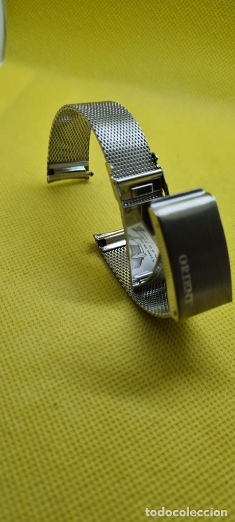 Recambios de relojes: Correa para reloj (Vintage) ORIENT de acero original tipo milanesa medida de las pata o asas 18mm. - Foto 4 - 255934400