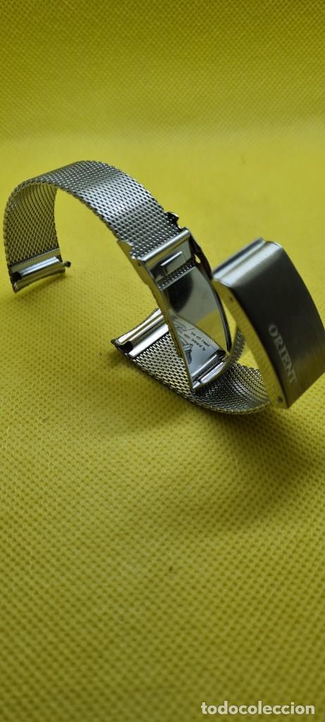 Recambios de relojes: Correa para reloj (Vintage) ORIENT de acero original tipo milanesa medida de las pata o asas 18mm. - Foto 5 - 255934400