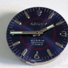 Recambios de relojes: CAUNY ALARMA VINTAGE PARA REPARAR O PIEZAS, DIAL, MANILLAS Y MAQUINA, USADA 114. Lote 256109185