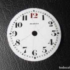 Recambios de relojes: ANTIGUA ESFERA DE RELOJ ESMALTADA MARSI DE 2,7 CMS DE DIAMETRO. Lote 259710450
