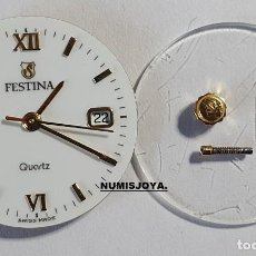Recambios de relojes: MAQUINA CON ESFERA CORONA RELOJ DE SEÑORA ORO FESTINA QUARTZ. FUNCIONANDO PERFECTAMENTE.. Lote 263182745