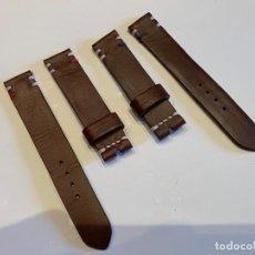 Recambios de relojes: LOTE 2 CORREAS DE PIEL HECHAS A MANO 20MM Y 18-19MM. Lote 263183395