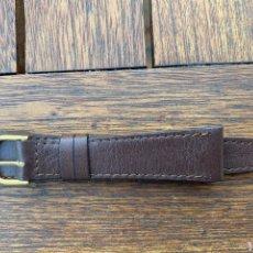 Recambios de relojes: CORREA DE PIEL PIERO MAGLI MARRÓN OSCURO 20 MM NUEVA HEBILLA ORO. Lote 279446858