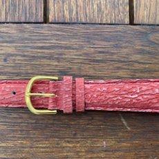 Recambios de relojes: CORREA DE PIEL PIERO MAGLI ROJO ENVEJECIDO 20 MM NUEVA HEBILLA ORO. Lote 279448968