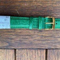 Recambios de relojes: CORREA DE PIEL PIERO MAGLI VERDE 18 MM NUEVA HEBILLA ORO. Lote 279450533