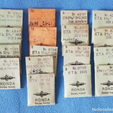 Recambios de relojes: 67- ETA - LOTE 17 SOBRES. EJES DE VOLANTE RONDA. CALIBRES DIVERSOS.. Lote 283678498