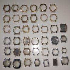 Recambios de relojes: 40 CAJA RELOJES VINTAGE. 6 CON FONDO. Lote 289021518
