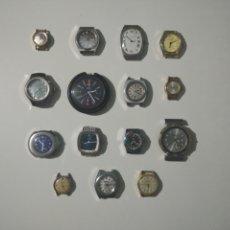Recambios de relojes: 15 PARTES DE RELOJ VINTAGE PARA REVISAR, REPARAR, PIEZAS O COLECCIÓN. DUWARD, LINTHOR, CITIZEN.... Lote 289026553