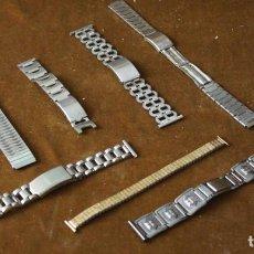 Recambios de relojes: COMPOSTERIA DE RELOJ. NUEVE CORREAS DIFERENTES, METÁLICAS. Lote 294929733