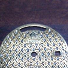 Relojes - Rolex: DIAL ROLEX VINTAGE, PLATA DORADA CON 100 DIAMANTES. Lote 125564972