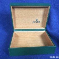 Relojes - Rolex: CAJA MADERA RELOJ ROLEX FORRADA PIEL VERDE DORADO SELLO LACRE ORIGINALES . Lote 113670127