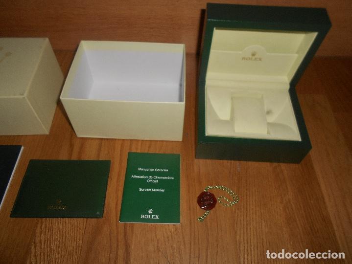 Relojes - Rolex: CAJA VERDE SIMIL PIEL CON ESTUCHE ORIGINAL PARA RELOJ ROLEX DATEJUST CON CATALOGO CARTERA PERFECTA - Foto 2 - 150946030