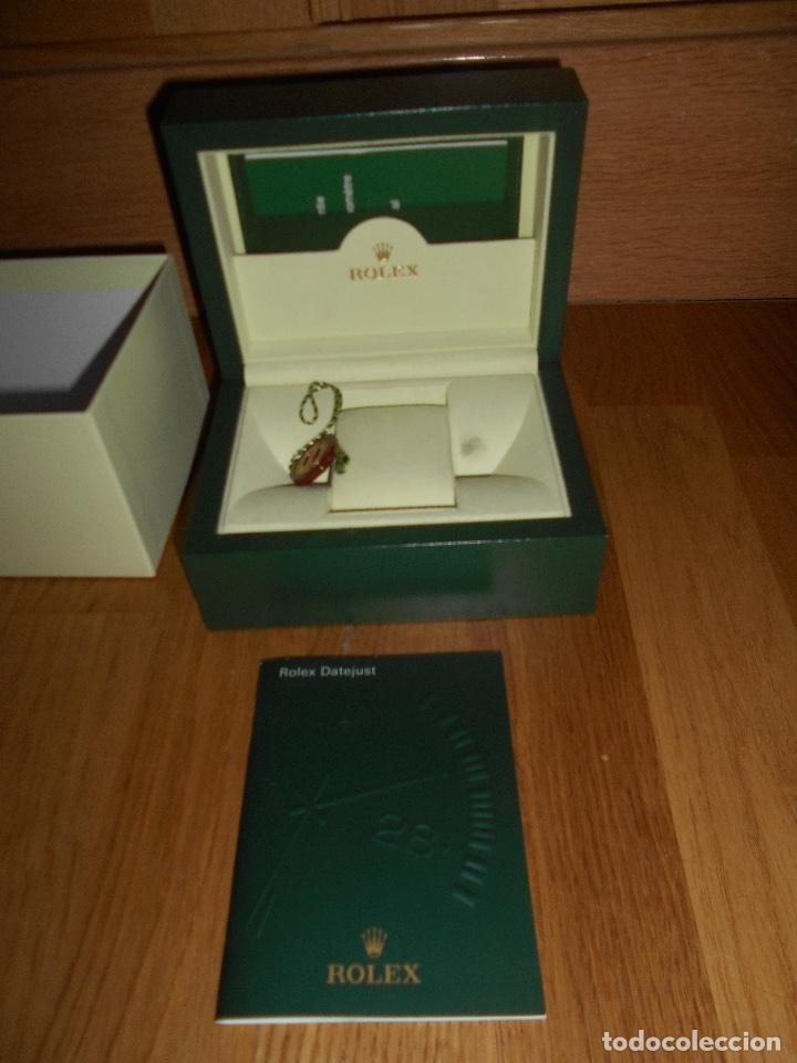 Relojes - Rolex: CAJA VERDE SIMIL PIEL CON ESTUCHE ORIGINAL PARA RELOJ ROLEX DATEJUST CON CATALOGO CARTERA PERFECTA - Foto 3 - 150946030