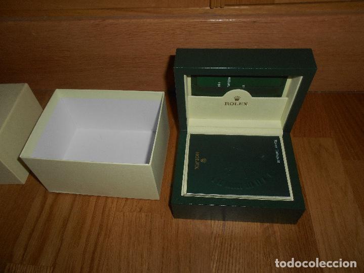 Relojes - Rolex: CAJA VERDE SIMIL PIEL CON ESTUCHE ORIGINAL PARA RELOJ ROLEX DATEJUST CON CATALOGO CARTERA PERFECTA - Foto 4 - 150946030