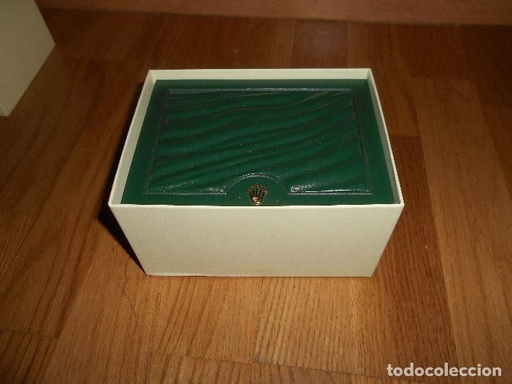 Relojes - Rolex: CAJA VERDE SIMIL PIEL CON ESTUCHE ORIGINAL PARA RELOJ ROLEX DATEJUST CON CATALOGO CARTERA PERFECTA - Foto 5 - 150946030