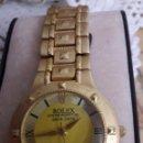 Relojes - Rolex: REPLICA RELOJ ROLEX QUARTZ CHAPADO EN ORO (NO TIENE PILA).. Lote 159619932