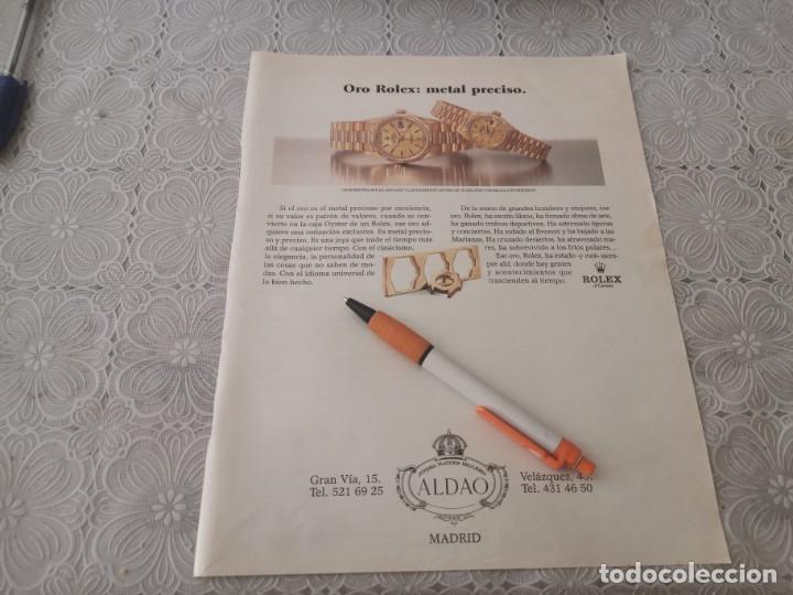 RELOJ ORO ROLEX ALDAO MADRID ANUNCIO PUBLICIDAD REVISTA AÑO 1992 (Relojes - Relojes Actuales - Rolex)