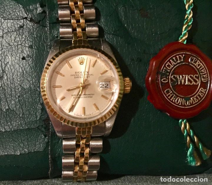 Relojes - Rolex: ROLEX OYSTER PERPETUAL DATEJUST-ORO Y ACERO-SUPERLATIVE CHRONOMETER-SWISS MADE 1992 PARA SEÑORA - Foto 10 - 212408133