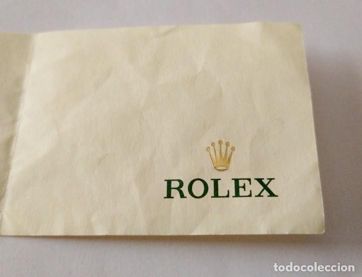 PEQUEÑA HOJA LIBRETA OFICIAL DE RELOJES ROLEX. LOGOTIPO CORONA DORADA. (Relojes - Relojes Actuales - Rolex)