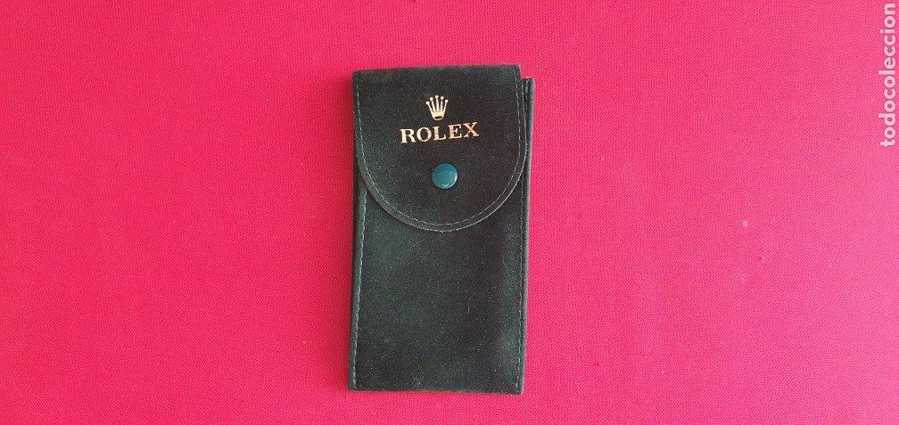 ESTUCHE DE ROLEX CON EL NUMERO DE REFERENCIA DE TELA COLOR VERDE ORIGINAL VER FOTOS (Relojes - Relojes Actuales - Rolex)