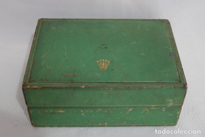 Relojes - Rolex: Estuche vintage caja reloj rolex interior de madera y terciopelo y por fuera de terciopelo verde - Foto 2 - 273354533