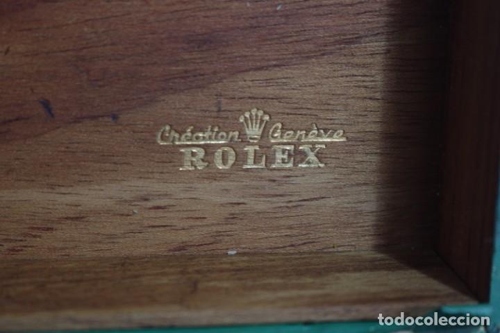Relojes - Rolex: Estuche vintage caja reloj rolex interior de madera y terciopelo y por fuera de terciopelo verde - Foto 4 - 273354533
