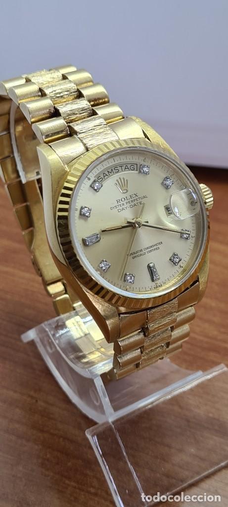 Relojes - Rolex: Reloj caballero ROLEX. DAY- DATE de oro 18K (0750) con correa de oro, esfera champan con brillantes. - Foto 4 - 279379298