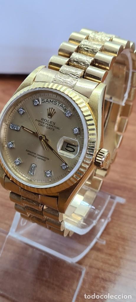 Relojes - Rolex: Reloj caballero ROLEX. DAY- DATE de oro 18K (0750) con correa de oro, esfera champan con brillantes. - Foto 7 - 279379298