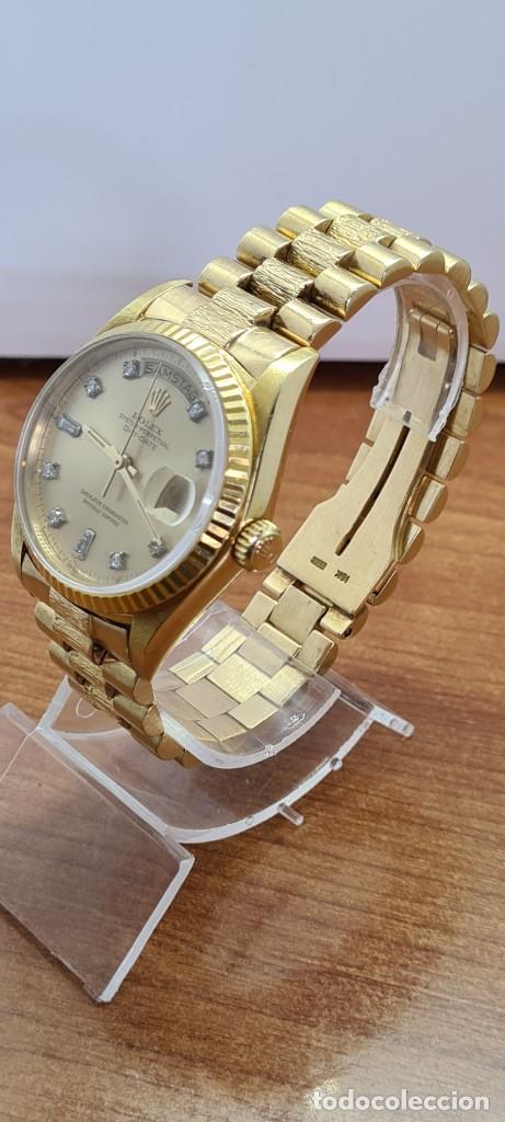 Relojes - Rolex: Reloj caballero ROLEX. DAY- DATE de oro 18K (0750) con correa de oro, esfera champan con brillantes. - Foto 14 - 279379298