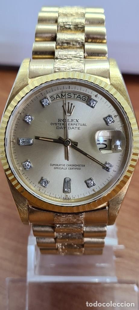 Relojes - Rolex: Reloj caballero ROLEX. DAY- DATE de oro 18K (0750) con correa de oro, esfera champan con brillantes. - Foto 15 - 279379298