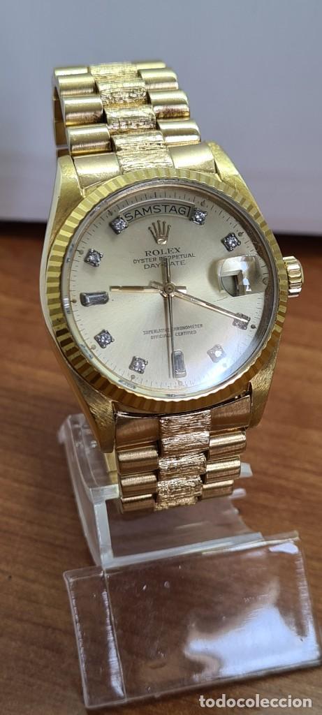 Relojes - Rolex: Reloj caballero ROLEX. DAY- DATE de oro 18K (0750) con correa de oro, esfera champan con brillantes. - Foto 17 - 279379298