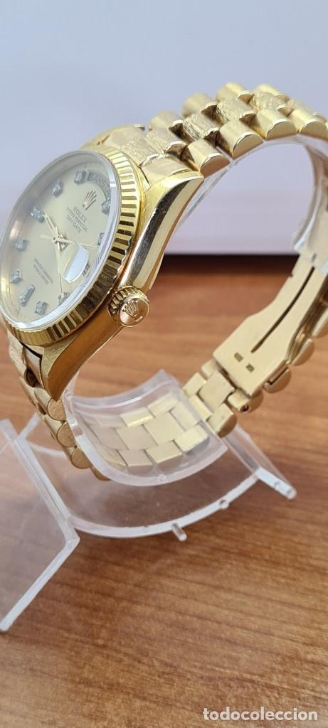 Relojes - Rolex: Reloj caballero ROLEX. DAY- DATE de oro 18K (0750) con correa de oro, esfera champan con brillantes. - Foto 20 - 279379298
